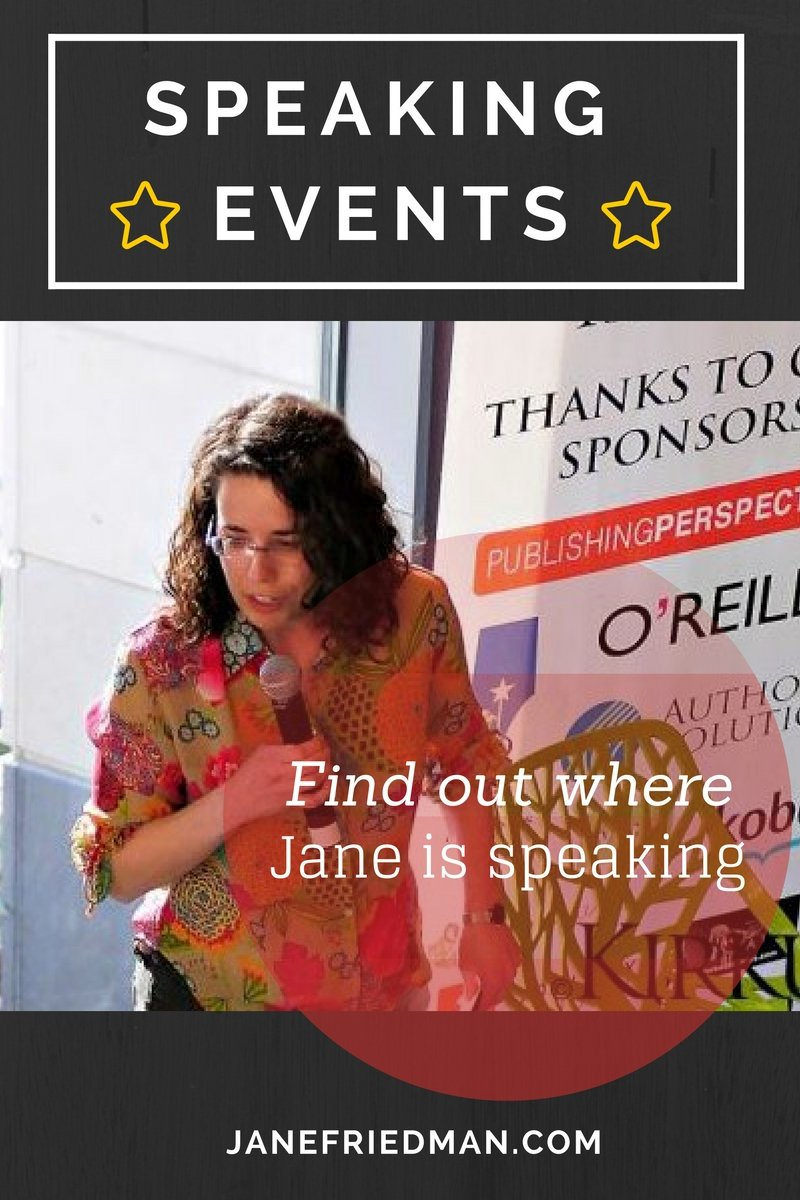 Jane's Speaking Events: My many years of experience means that I know how to deliver practical and comprehensive information that anticipates the needs of the audience, directly addresses their concerns, and offers both understanding and answers. I care deeply about serving writers—and all those in the creative professions—and helping them succeed in their careers.
