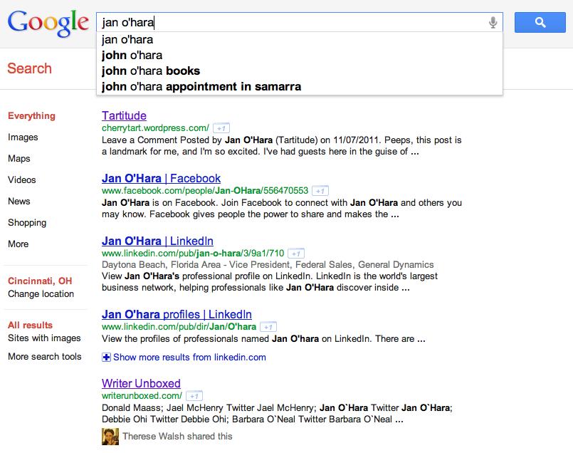 Jan O'Hara Google Search