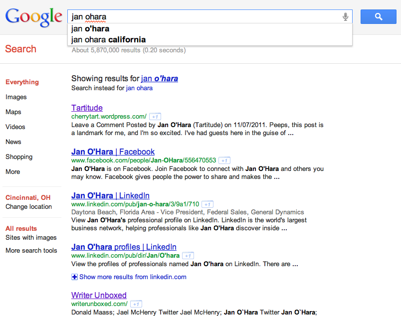 Jan OHara Google search