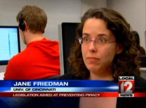 Jane Friedman on CBS affiliate WKRC on SOPA 19 January 2012