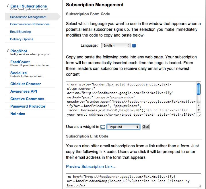 Feedburner e-mail code
