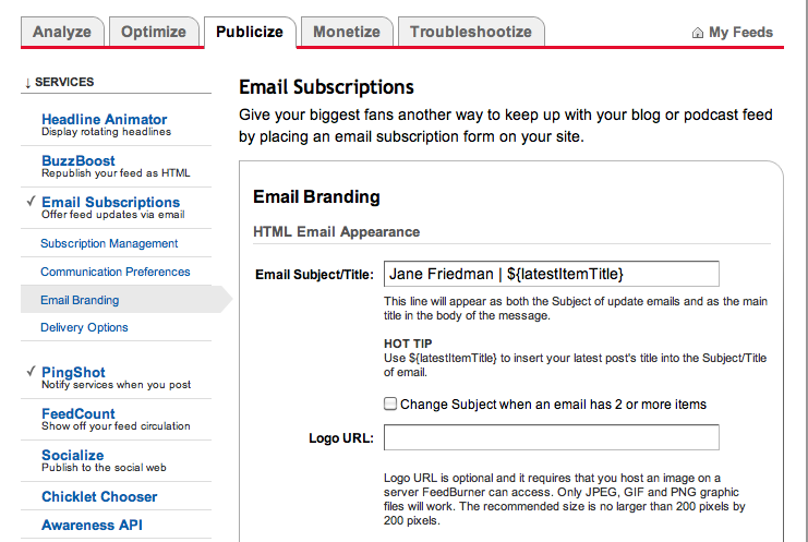 Customize e-mail subject line