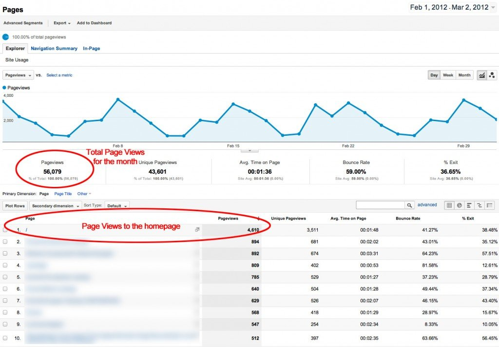 Google Analytics page visits