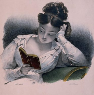Vintage lady reading
