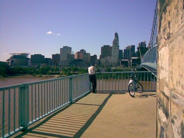 View of downtown Cincinnati from the Roebling Bridge