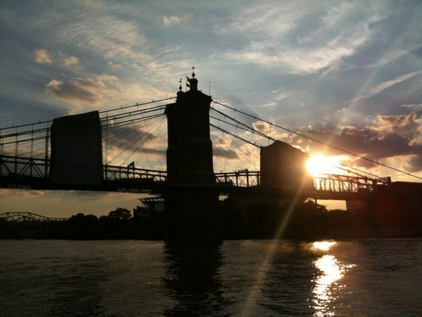 Roebling Bridge at sunset (Cincinnati)