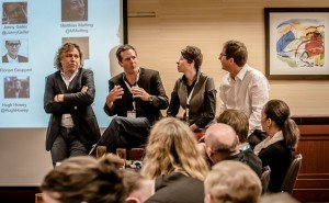 Half the panel in our Frankfurt Academy Self-Publishing and the Industry town-hall session: From left, Amazon's Jon Fine, Silo Saga author Hugh Howey, Nelson Literary's Kristin Nelson, and Curtis Brown's Jonny Geller. Photo: Bernd Hartung, provided by Frankfurt Book Fair.
