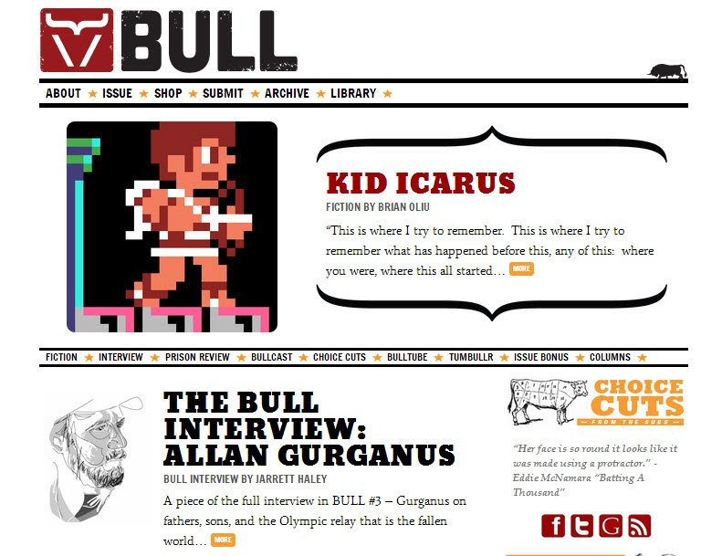 BULL Men's Fiction relaunched 2013 site