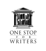 The logo of One Stop for Writers, a bookshelf inset into a Greek temple with columns and a triangular roof.