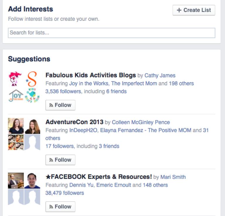 A screenshot of a Facebook interests list.