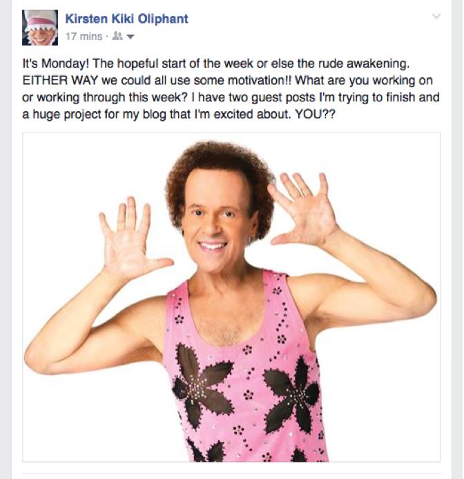 A screenshot of a motivational Facebook post.