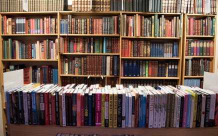 A photograph of several bookstore shelves loaded with books.