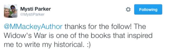 A tweet from Mysti Parker to Mary Mackey