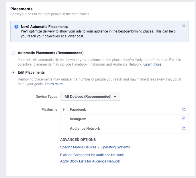Facebook Ad Placements selection screen