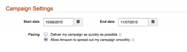 Campaign settings Amazon